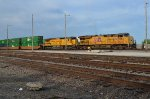 Northbound Union Pacific intermodal departs Dupo Yard