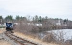 The Empty Coal Train rounds the bend along the Merrimack River