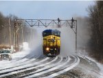 CSX 7888 kicks up a blizzard at CP 380