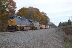 Westbound CSX intermodal about to cross Game Farm Road.