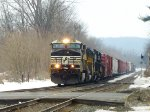 Eastbound manifest freight barrels through Macungie
