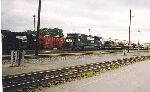 Military train in town