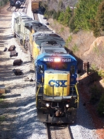 CSX 7515, setting off cars for Bowater Paper Mill 2/15/06,