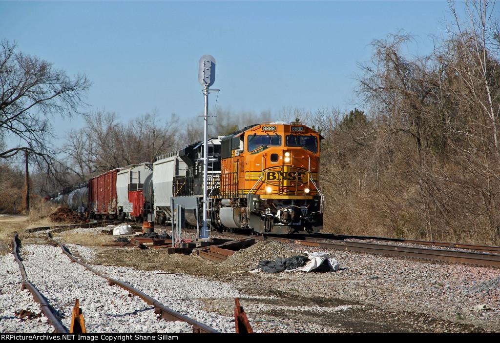 BNSF 8888 Heads up a freight.