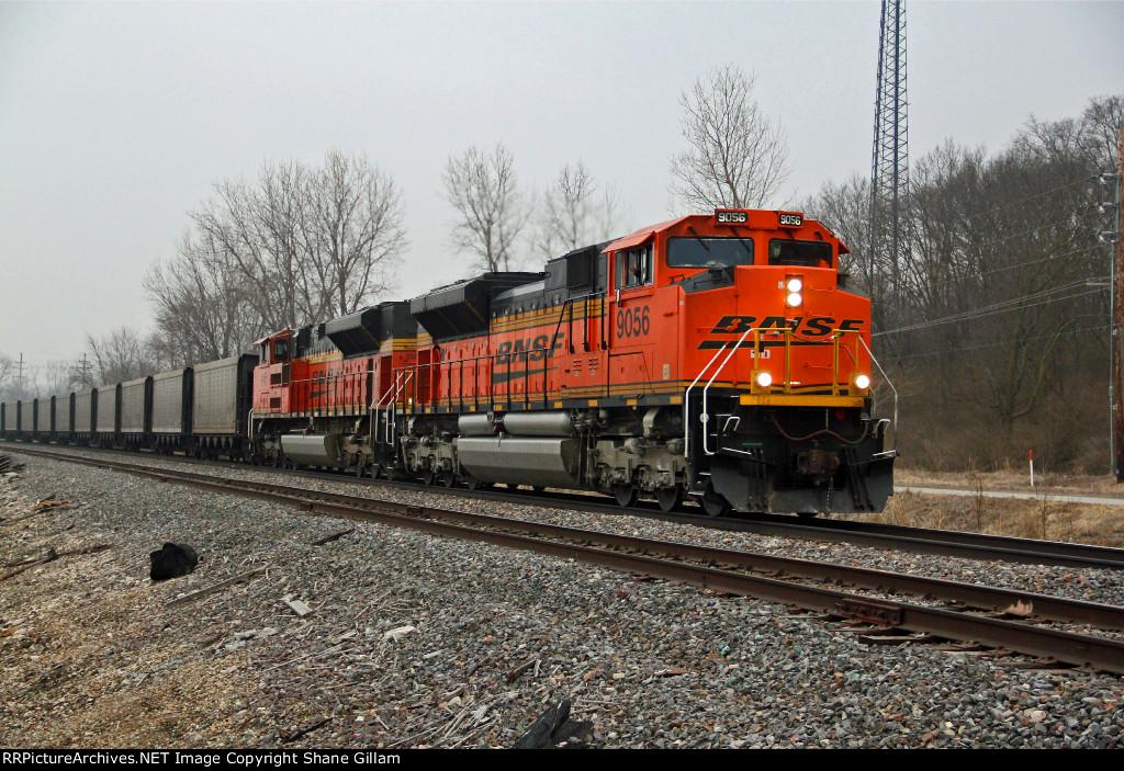 BNSF 9056 Heads a empty coal train up the K Line.