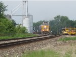 UP 7365 Rips a EB stack train through La Plata Mo.