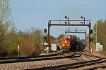 BNSF 6815 Rolls a stack under the Ex Santa Fe searchlight's....