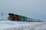 BNSF 7102 Dpu on a 7 unit freight.