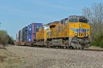 UP 8022 work's a stack train East on the BNSF Transcon..
