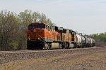 BNSF 7820 Leads a WB corn syrup train near La Plata Mo.