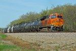 BNSF 6280 Works Dpu on a loaded Corn syrup train.