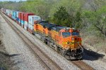 BNSF 5617& BNSF 5249 work Dpu on a WB stack train.