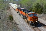 BNSF 6734 Heads up a stack train EB into Gibbs Mo..