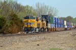 UP 8144 Brand new Gevo ripping on a WB stack train,