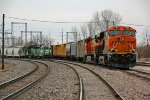BNSF 7164 Sit's on the NSLWQM while a matched BN Set waits for work.