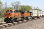 BNSF 7530 Heads up a stack train.