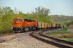 BNSF 6438 Rolls a empty coal through Hannibal Mo..