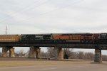 NS 9005 Leads NS 111 EB across the TRRA Bridge.