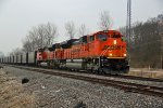 BNSF 9056 Heads a empty coal train up the K Line.