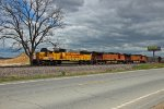 NREX 5959 Is the leader on a NB Mixed freight train..