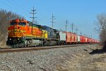 BNSF 912 & CSX 7382 lead a potash train.