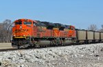 BNSF 9176 Rolls a coal load SB out of Old Monroe Mo.