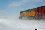 BNSF 9849 Works Dpu in a snowstorm.