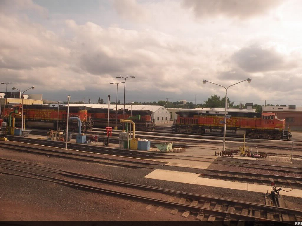 A bunch of BNSF engines on the fuel racks at Havre.