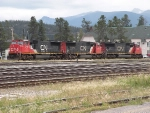 Three CN SD70's in Jasper.