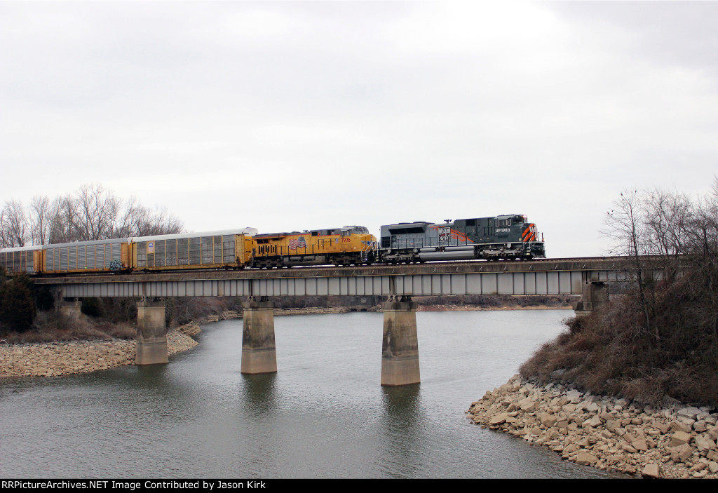 CSX Q 223 with UP 1983 in the lead.