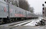 Ringling Bros. Red Unit passenger cars exit Montview Yard southbound