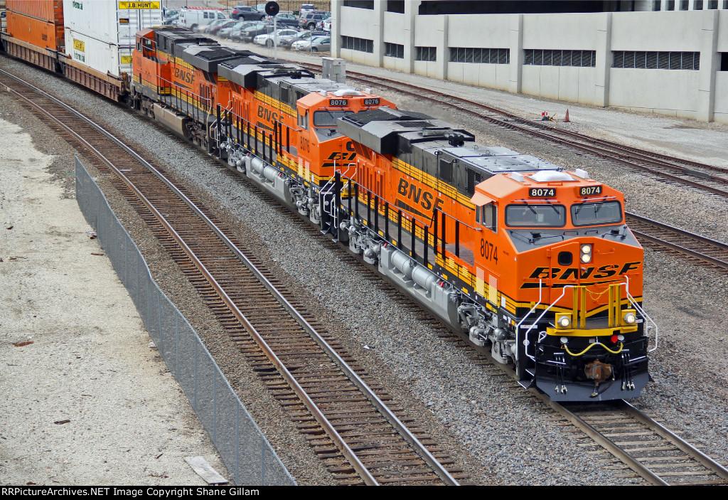 BNSF 8074 & BNSF 8076 Brand new lead a stack train EB!!