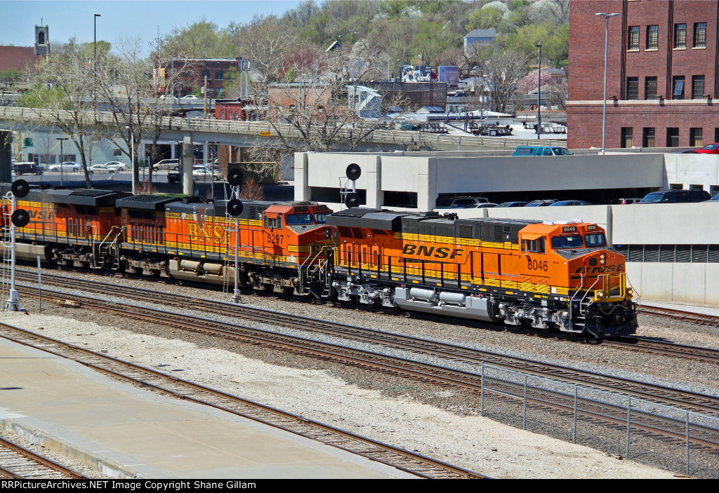 BNSF 8046 Hammer's on a EB stack train after getting a clear..