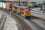 BNSF 8011 Brand new Gevo leads a stack train East.