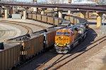 BNSF 6353 Works a coal load SB past a empty NB.