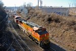 BNSF 5037 Leads a 12 Unit power move through the gooseneck!