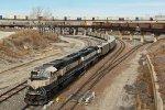2 Cream n greens work Dpu on a empty coal train.
