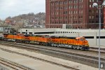 BNSF 8000 New C4 Gevo leading a EB stack train.