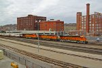BNSF 8000 Leads a EB stack.