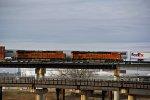 BNSF 6869 Leads a EB Q train while a WB Z train rips past.