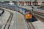 BNSF 5188 Leads a late and broken Amtrak #4 into town.