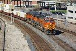 BNSF 4571 Leads a EB Q train past Union Station.