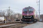 MBTA 2022 pushes at trains towards Boston at CPF-BY (Bleachery)