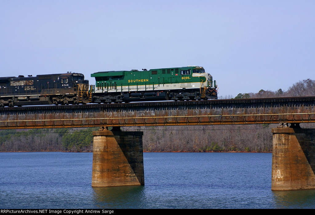 NS 8099 heads 212 over the bridge and into Clemson