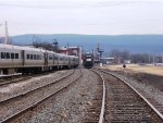 NS 5614 rolling past Port Jervis' Metro North commuter station