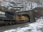 J Engines entering Glen Alum Tunnel on a snowy afternoon