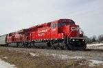 CP 5018 leads 9354 on eastbound grain train 372