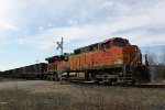 BNSF 4133 solo on CP 853 WB coke MTs crossing Koval Road