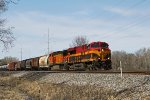 KCS 4797 leads 280 down the siding out of town after recrewing at the depot
