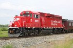 CP 2241 pulls off the siding with the TEC train
